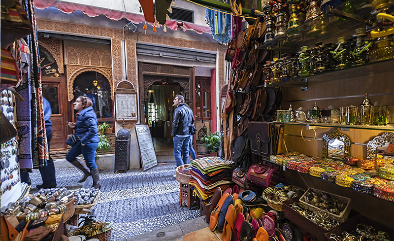 Shops and bazaars in the streets of Granada