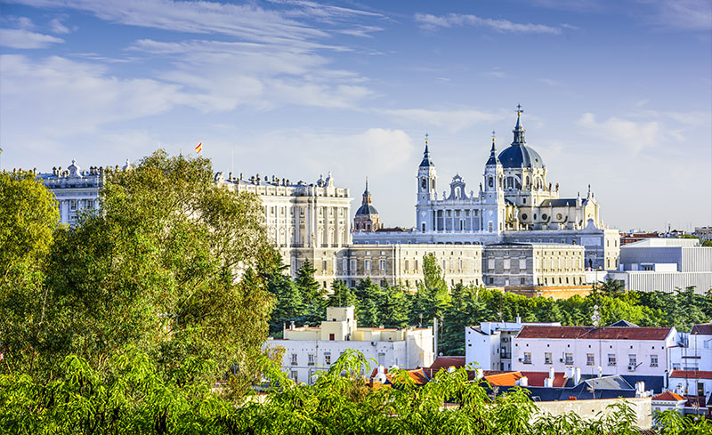 Madrid views, with Almudena cathedral