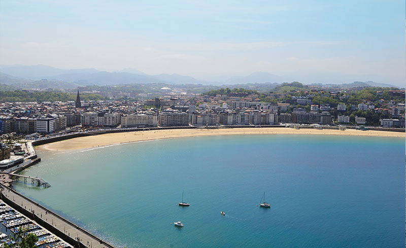 Sight of San Sebastian with La Concha beach