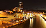 Bilbao by night, the ría and the Guggenheim museum
