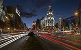Gran Via street by night, Madrid