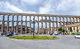 Front view of the aqueduct of Segovia
